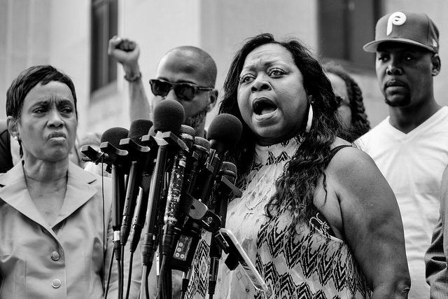 Valerie Castile, Philando's mother, speaking outside the Ramsey County Courthouse after a not guilty verdict was reached.