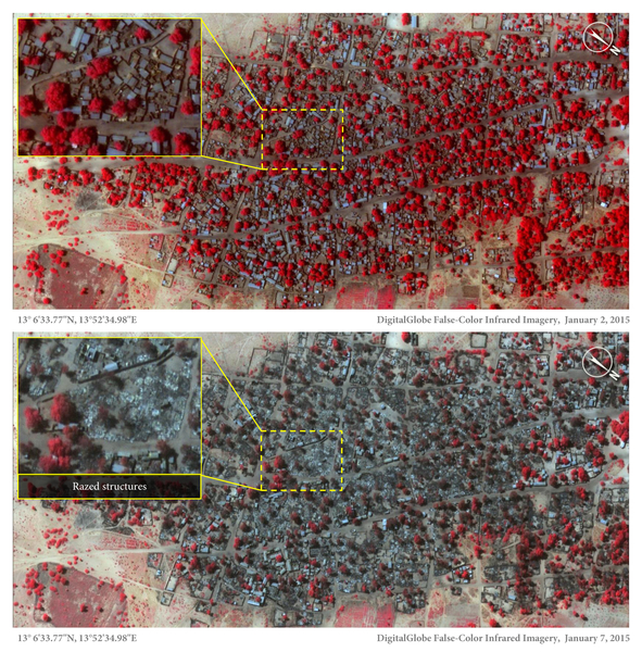 Before (January 2 2015) and after (January 7 2015) satellite imagery shows the extent of the damage in one of the villages targeted by Boko Haram.