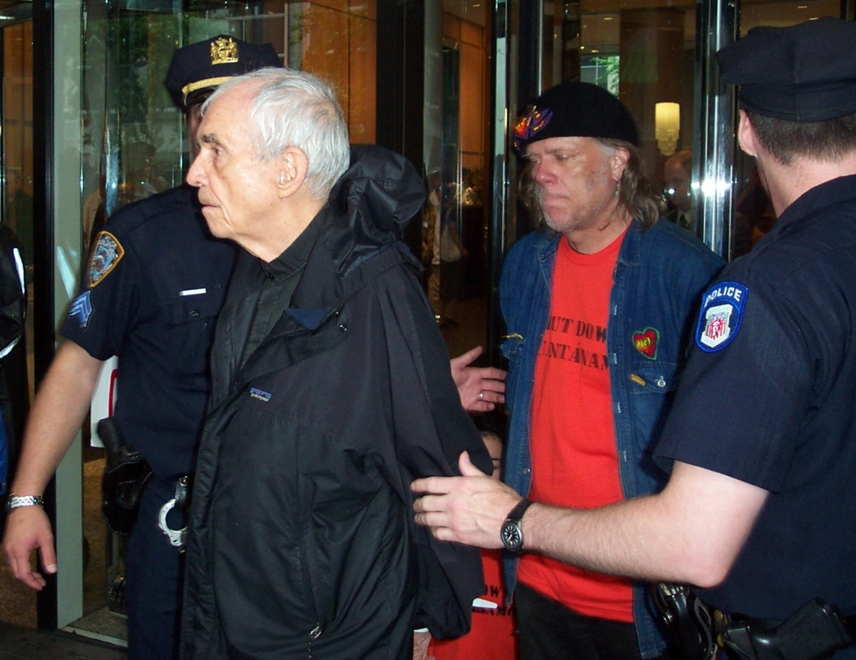 Daniel Berrigan being arrested for civil disobedience outside the U.S. Mission to the U.N. in 2006.