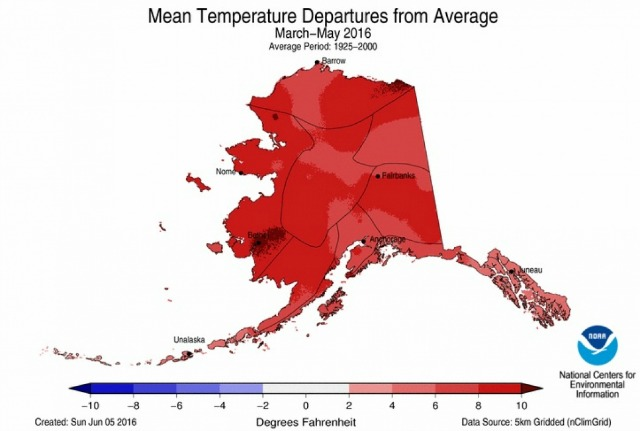 How much spring temperatures departed from the average in Alaska this spring. (Image: NOAA, via Climate Central)