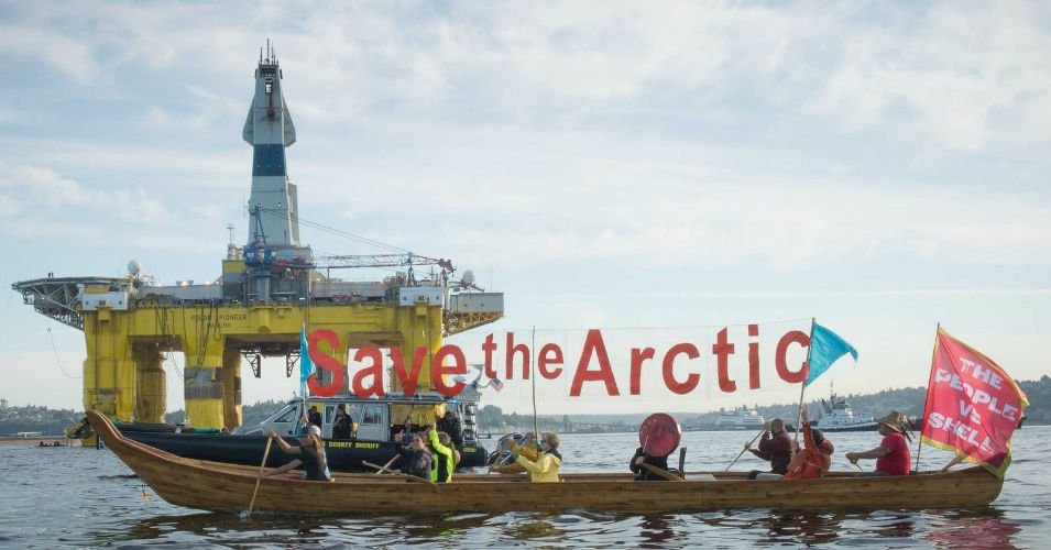 U.S. Arctic oil will be exposed to increasing risks associated with mounting public opposition, marked by creative direct actions like this flotilla, says the report from Oil Change International and Greenpeace. (Photo: Backbone Campaign/flickr/cc)