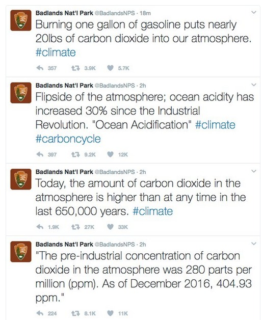 Fourt tweets posted by the Badlands National Park official account, which have now been deleted.