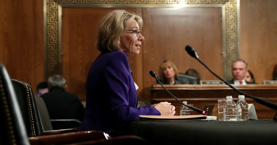 Betsy DeVos at her Senate confirmation hearing before the Committee on Health, Education, Labor, and Pensions last month. (Photo: Getty)
