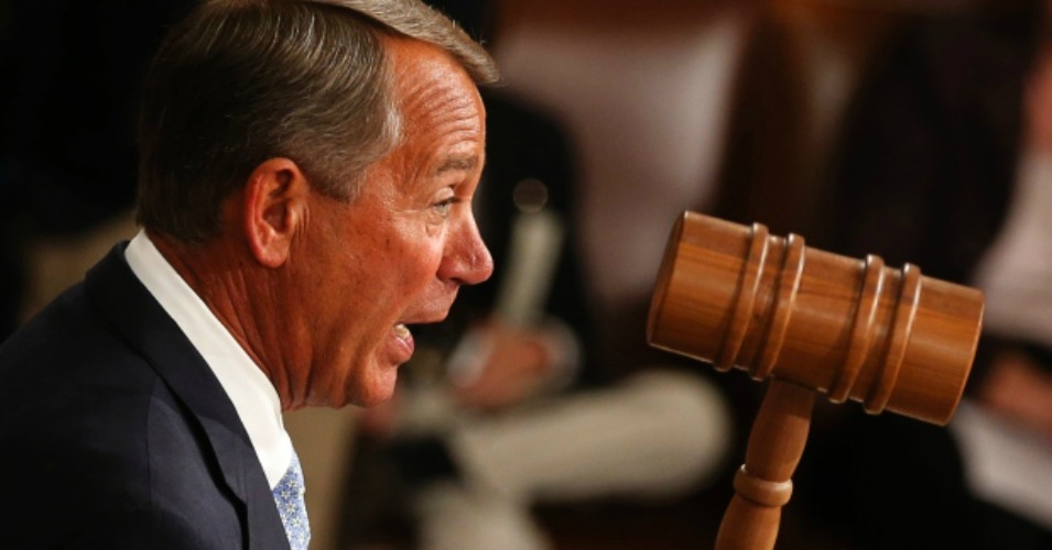 Republican Speaker of the House John Boehner wields the gavel for the first time after being re-elected as the Speaker of the House of Representatives at the start of the 114th Congress on Jan. 6, 2015. Among the GOP's first act was imposing a new rule on non-partisan agencies to institute new prediction models that will be more favorable to trickle-down economic policies. (Photo: Jim Bourg /Reuters)