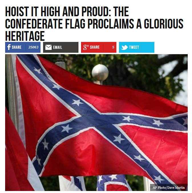 Breitbart (7/1/15) ran this celebration of the Confederate flag just two weeks after Confederacy fan Dylann Roof murdered nine Charleston churchgoers in an attempt to start a race war.