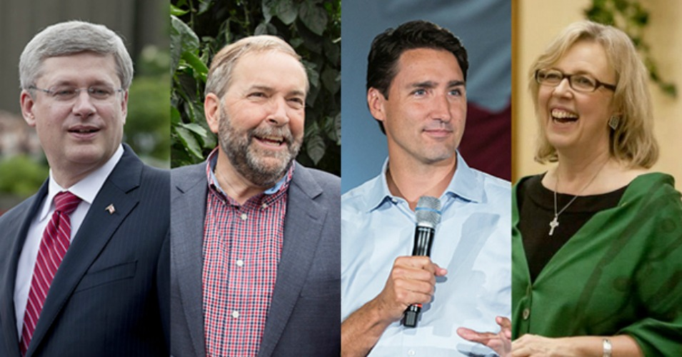 Canada's national election Monday is reportedly the closest race in the country's history. From left to right: Prime Minister Stephen Harper, NDP Leader Tom Mulcair, Justin Trudeau of the Liberal Party, and Elizabeth May, leader of the Green Party. (Photo via TheTyee.ca)