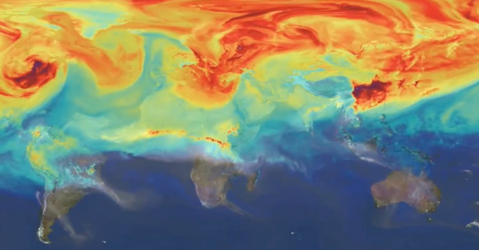 A still from a NASA animation showing how carbon dioxide moves around the planet. (Screenshot: NASA)