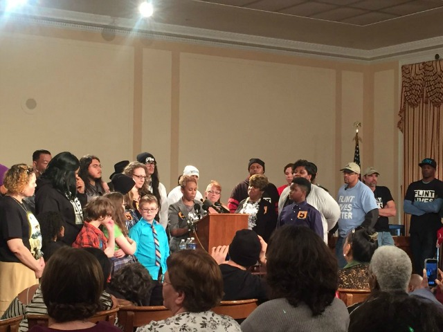 Flint families demanded pipe replacement, repayment of their water bills, and comprehensive health care and education reform. (Photo: Rachel Rekowski/Twitter)