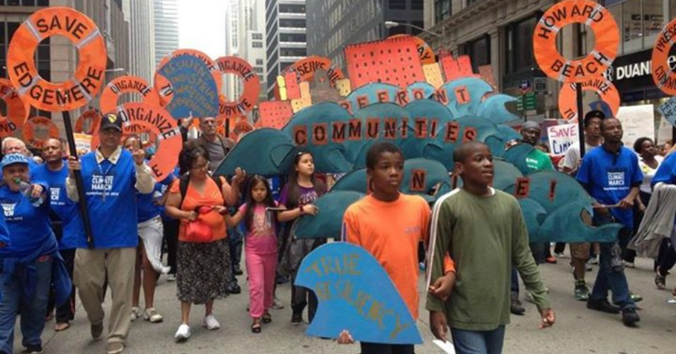 Climate activists from the Shorefront communities march. (Photo: Our Power Campaign)