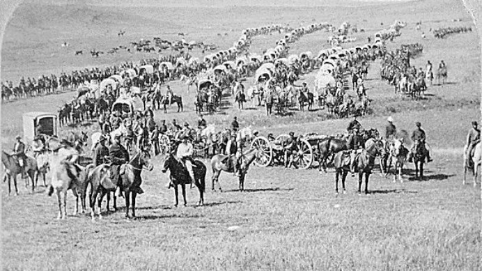 A column of cavalry, artillery and wagons commanded by Gen. George A. Custer crosses the plains of Dakota Territory in 1874. Native Americans' grievance against the Dakota pipeline stretches back more than a century, to the original government incursions on their tribal lands. W.H. (Photo: Illingworth/National Archives)