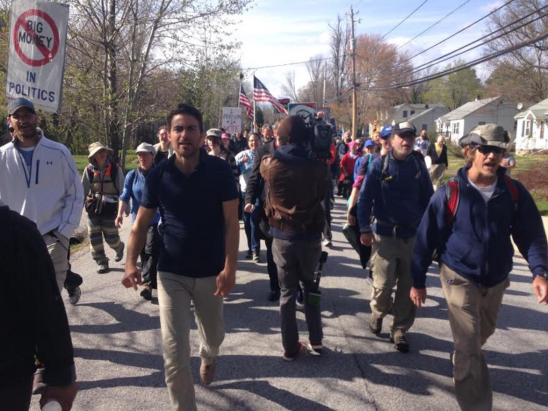 Campaign Director, Kai Newkirk, leads Democracy Spring marchers near Elkridge, MD