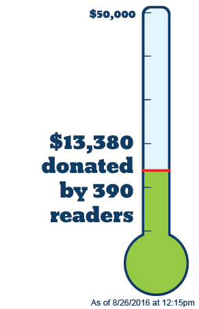 Thermometer - $36,000 to go. Donate now!