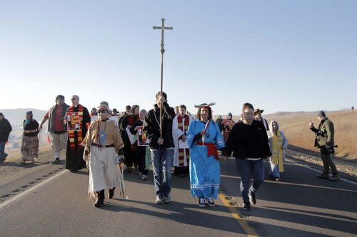More than 500 interfaith witnesses marched north along Highway 1806 to the backwater bridge where they formed a Niobrara Circle of Life.