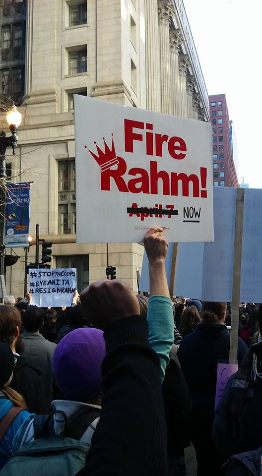 Protesters gather during Wednesday's march calling for the resignation of Mayor Emanuel.  (Photo courtesy Laurie Hasbrook)