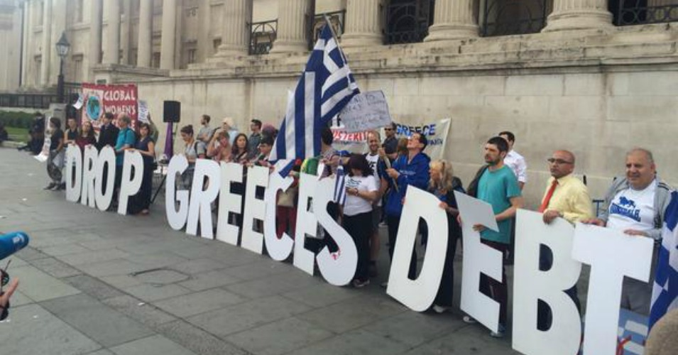 Supporters rallied in London's Trafalgar Square on Tuesday evening, calling on European lenders to cancel Greek's debt. (Photo: Global Justice Now)