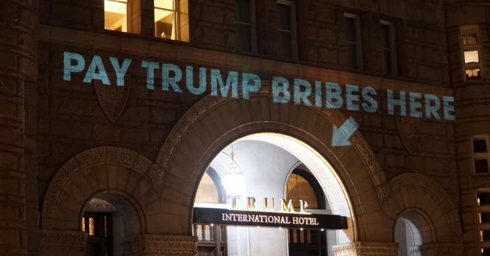 Quot Pay Trump Bribes Here Quot Projected Onto President S Dc Hotel