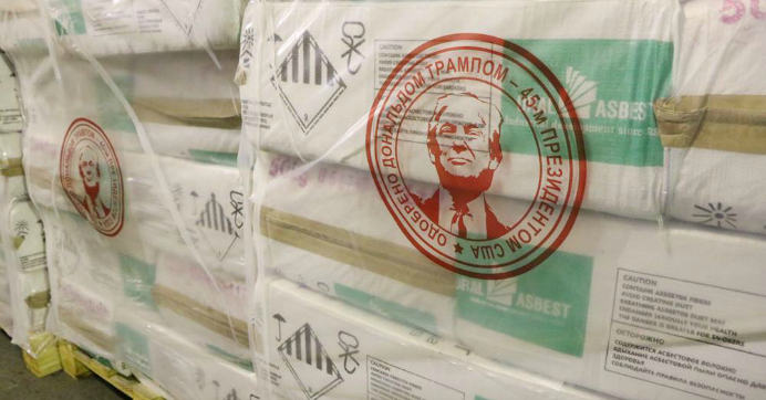 Russian Asbestos Company Puts Trump's Face, Seal of Approval, on Pallets of Its Products