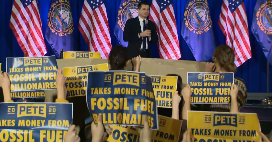 Democratic presidential candidate Pete Buttigieg interrupted by climate activists during a campaign rally in Concord, New Hampshire on Friday, Jan. 17, 2020. (Photo: Screenshot/via NBC News)