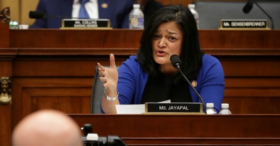 House Judiciary Committee member Rep. Pramila Jayapal (D-Wash.) questions Acting U.S. Attorney General Matthew Whitaker during an oversight hearing in the Rayburn House Office Building on Capitol Hill February 8, 2019 in Washington, D.C. (Photo: Chip Somodevilla/Getty Images)