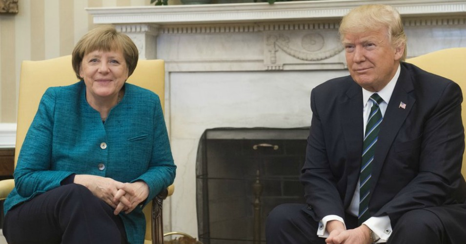 "Twitter Lights Up After 'Too Embarrassing to Watch' Trump-Merkel Press Conference - President Donald Trump slipped up and called the U.S. a ""company,"" ignored German Chancellor Angela Merkel's request for a handshake, and called a German press outlet ""fake news"""