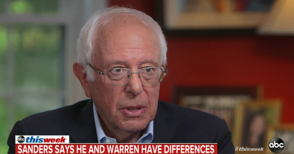 Sanders Distinguishes Himself From Warren by Noting That She Has Said