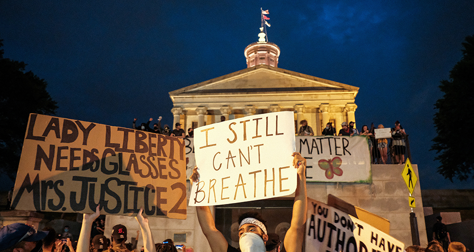 Black Lives Matter protesters are seen marching upon the Tennessee State Capitol building on June 04, 2020 in Nashville, Tennessee. George Floyd's death set off days and nights of protests as its the most recent in a series of deaths of African Americans by the police. (Photo by Jason Kempin/Getty Images)