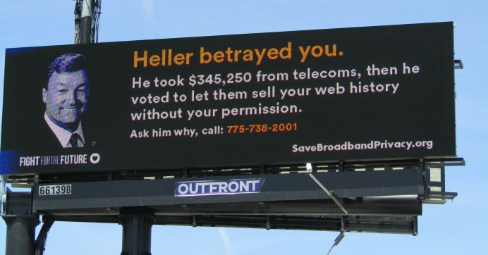 A billboard targeting Sen. Dean Heller (R-Nev.). (Photo: Fight for the Future/cc)