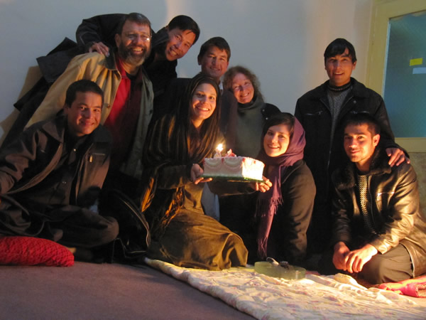 Afghan Youth Peace Volunteers and Voices for Creative Nonviolence celebrate Maya Evans's birthday in Kabul