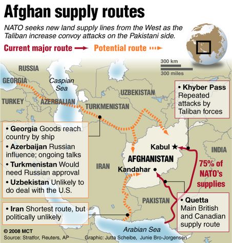 a supply route map of the afghan war from 2008