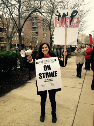 McCutcheon Elementary School teacher Jenny DeLessio-Parson on the picket line on Friday. (Photo: Savannah Mirisola-Sullivan)