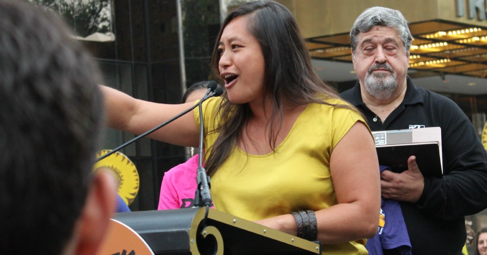 Mari Rose Taruc, with Asian/Pacific Environmental Network and the Climate Justice Alliance, speaks at a rally before the Climate March on September 21, 2014. (Common Dreams: CC BY-SA 3.0 US)