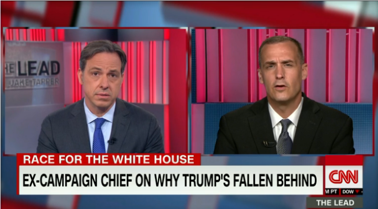 CNN's Jake Tapper interviewing his new colleague, Corey Lewandowski (6/27/16)