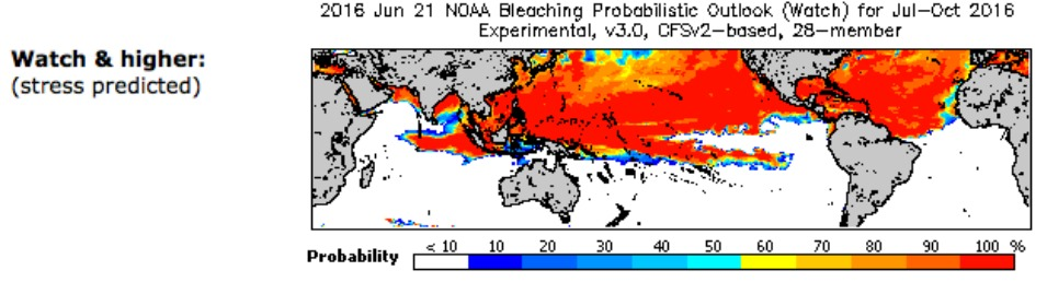 A map shows the regions in the Northern Hemisphere where coral reef stress is predicted. (Image: NOAA)