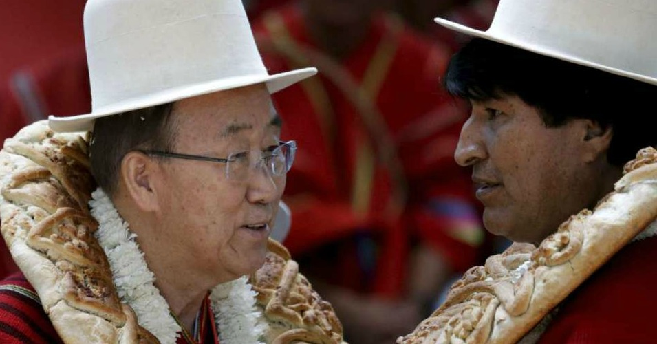 """Caring for Mother Earth is a moral issue,"" UN Secretary-General Ban ki-Moon (left) told the World People's Conference on Saturday. ""We must change how we use Mother Earth's resources, and live in a manner that is sustainable."" Here, he is pictured with Bolivian President Evo Morales. (Photo: Reuters)"