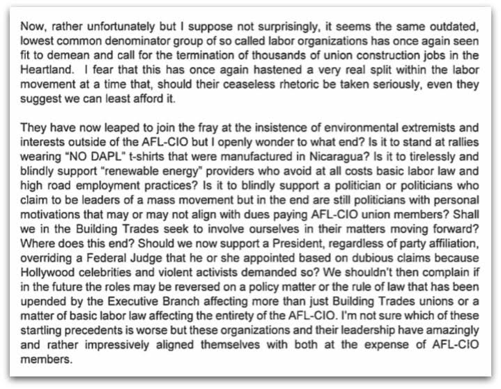 as tribes fight pipeline internal afl cio letter exposes very  nabtu excerpt jpg