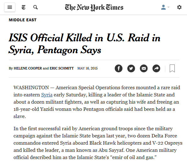 "This somehow does not meet the New York Times' definition of ""direct military intervention in Syria."""