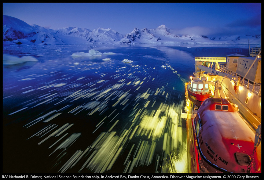 View from bridge along the R/V Nathaniel Palmer ice breaker, National Science Foundation, Antarctica, 1999. (Photo: Gary Braasch)