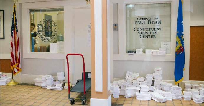 People angry because they can't contact Paul Ryan, write him postcards