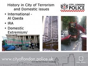 A slide from a City of London police counter-terrorism awareness sessions for nurseries. Photograph: City of London police