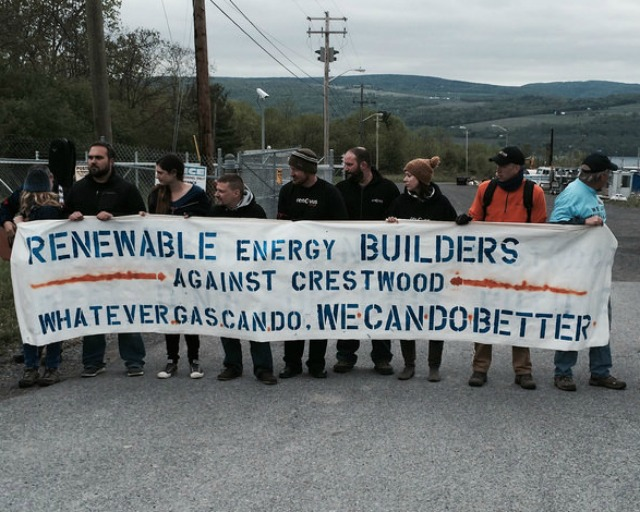 One focus of Wednesday's protest was on the benefits of renewable energy. (Photo: We Are Seneca Lake)