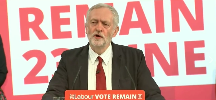 Jeremy Corbyn speaking in London on Thursday.  (Screengrab)