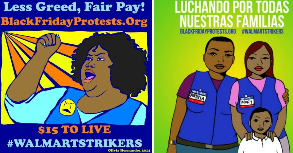 Workers are striking for full-time and living wage work, as well as the right to organize in their workplaces. (Image on left by Olivia Hernandez. Image on right by Julio Salgado)