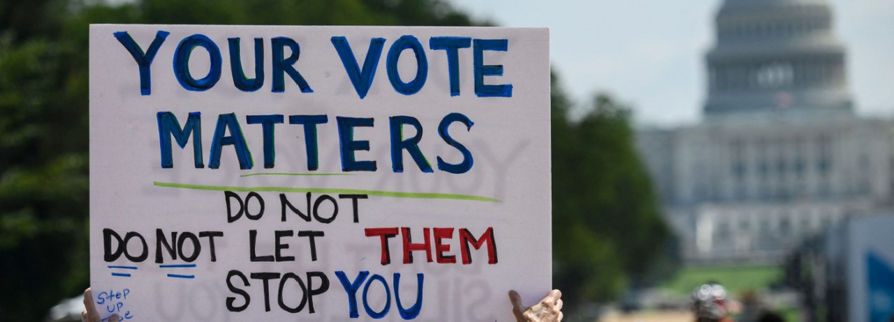 Demonstrators rally for voting rights in Washington, D.C.
