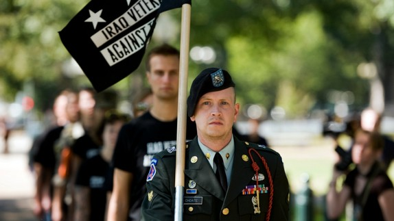 Iraq War veterans march to a rally on Capitol Hill calling for an end to redeployments of soldiers with traumatic brain injuries.