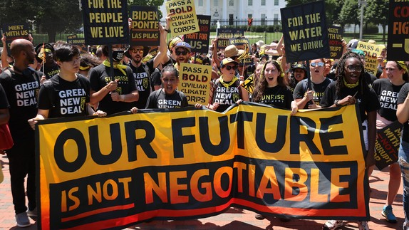 The climate movement rallies outside the Biden White House