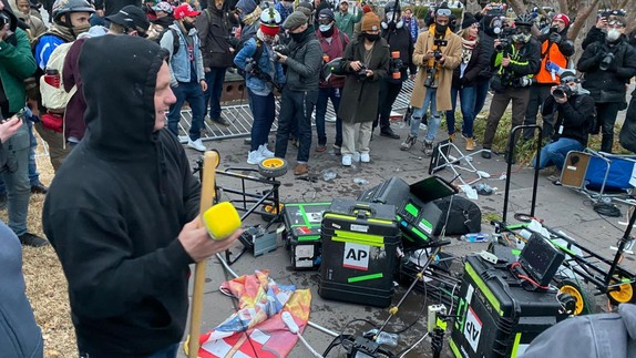 Media equipment that was damaged by rioters at the U.S. Capitol on January 6.