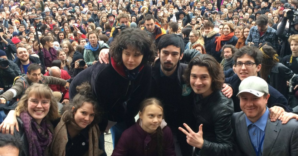 Greta Thunberg and other protesters
