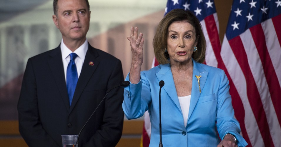 House Speaker Nancy Pelosi of Calif., joined by House Intelligence Committee Chairman Rep. Adam Schiff, D-Calif., speaks during a news conference on Capitol Hill on Wednesday, Oct. 2, 2019. (Photo: Caroline Brehman/CQ-Roll Call, Inc via Getty Images)