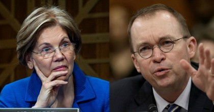 """Do you have a hierarchy that favors lobbyists that have contributed to your congressional campaigns or to any other campaigns?"" Warren asked Mulvaney in a letter sent on Thursday. (Photo: Pete Marovich/Getty Images; Win McNamee/Getty Images)"
