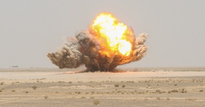 Blocks of C-4 detonate during a demolition range with U.S. Marines assigned to Task Force Southwest and Afghan National Army soldiers with 215th Corps at Camp Shorabak, Afghanistan, Aug. 9, 2017. (Photo: Sgt. Lucas Hopkins/U.S. Marine Corps )